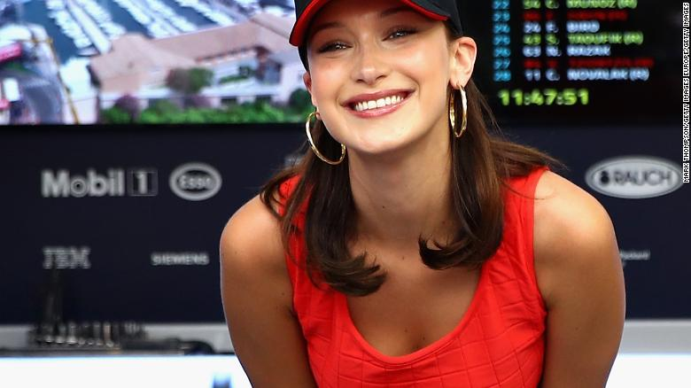 MONTE-CARLO, MONACO - MAY 27:  Supermodel Bella Hadid poses for a photo in the Red Bull Racing garage before the Monaco Formula One Grand Prix at Circuit de Monaco on May 27, 2018 in Monte-Carlo, Monaco.  (Photo by Mark Thompson/Getty Images)