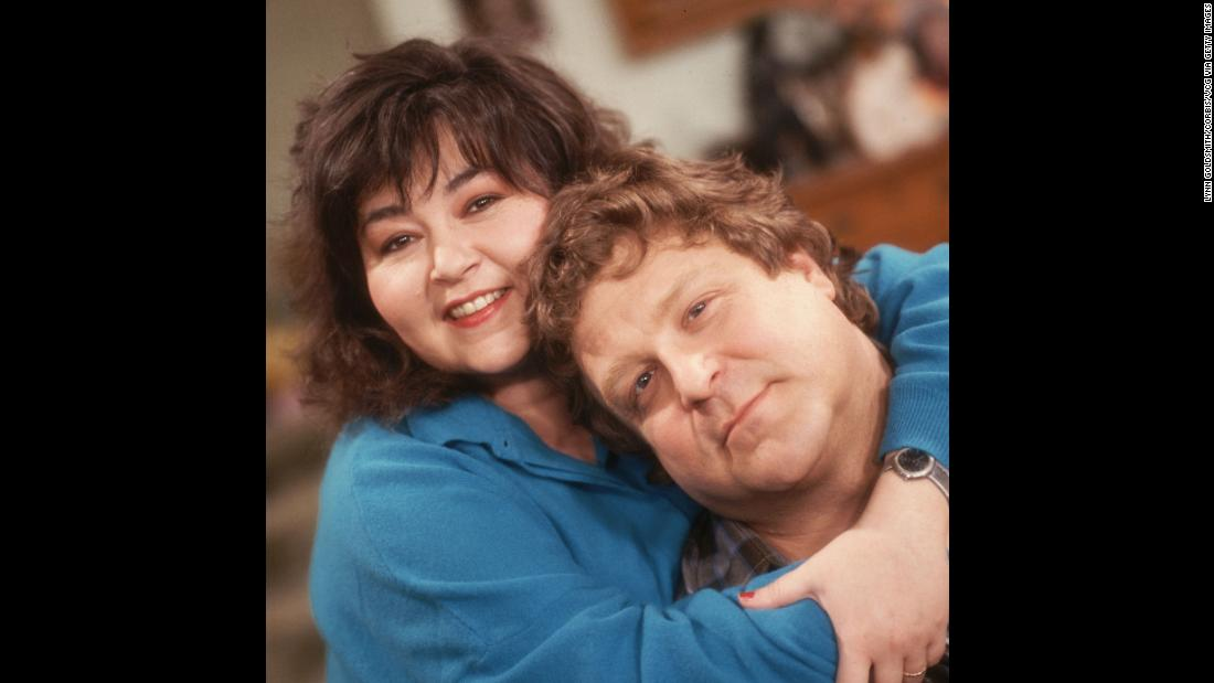 "Barr and Goodman on the set of ""Roseanne."""