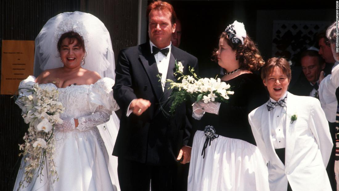 Barr and comedian Tom Arnold renew their vows during a ceremony in June 1991. The two had married a year earlier. It was Barr's second marriage. She had three children from her earlier marriage to Bill Pentland, which lasted from 1974-1990.