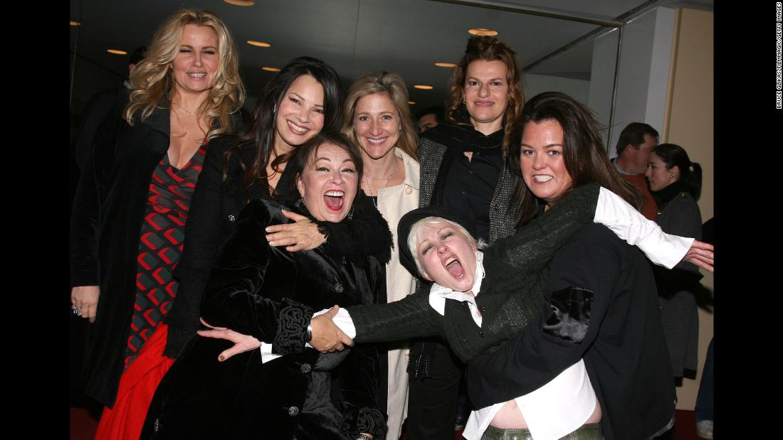 From left, Jennifer Coolidge, Fran Drescher, Barr, Edie Falco, Cyndi Lauper, Sandra Bernhard and Rosie O'Donnell pose for a photo at the New York Comedy Festival in November 2007.