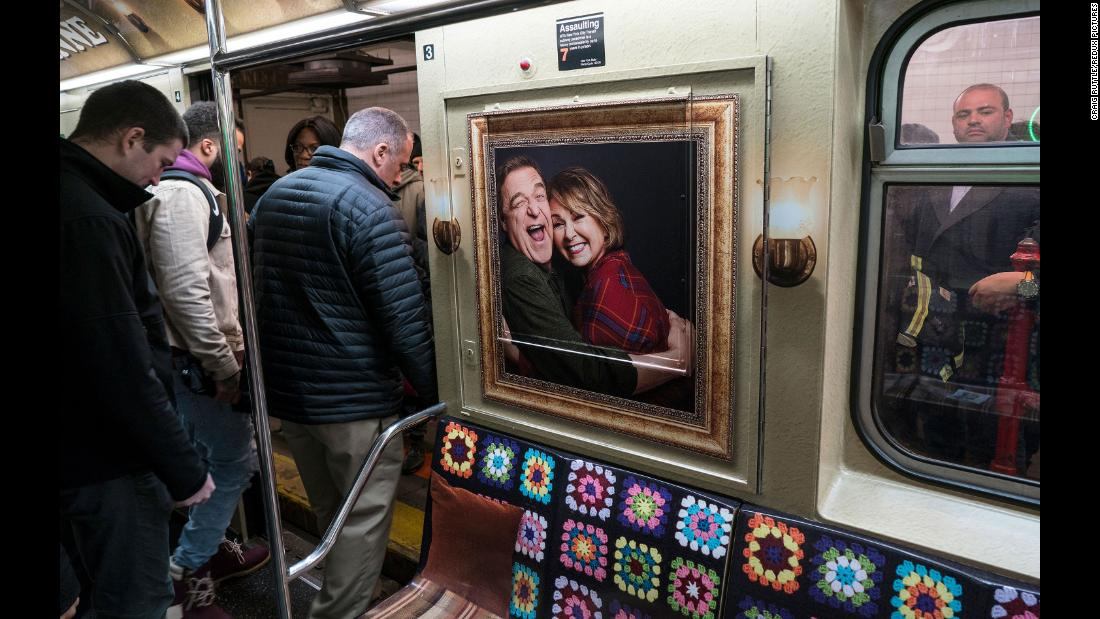 "To help promote the ""Roseanne"" reboot in March 2018, a subway car in New York was designed to resemble the show's living-room set."