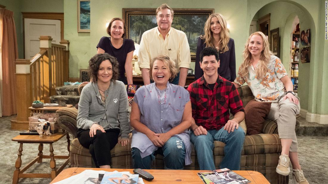 """Roseanne"" was rebooted with members of the show's original cast. The premiere got huge ratings, and production had already begun on a second season when the show was canceled."