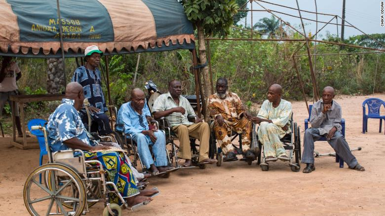 Members of the disabled Biafran War veterans organization in Nigeria.