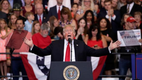 NASHVILLE, TN - MAY 29: U.S. President Donald Trump speaks during a rally at the Nashville Municipal Auditorium, May 29, 2018 in Nashville, Tennessee. Earlier in the day, President Trump held a fundraising event in support of Rep. Marsha Blackburn (R-TN), who is running for a U.S. Senate seat against former two-term Tennessee Governor Phil Bredesen, a Democrat. They are competing for the Senate seat currently held by Sen. Bob Corker (R-TN), who declined to run for a third term. Recent polling indicates a close race between Blackburn and Bredesen. (Photo by Drew Angerer/Getty Images)