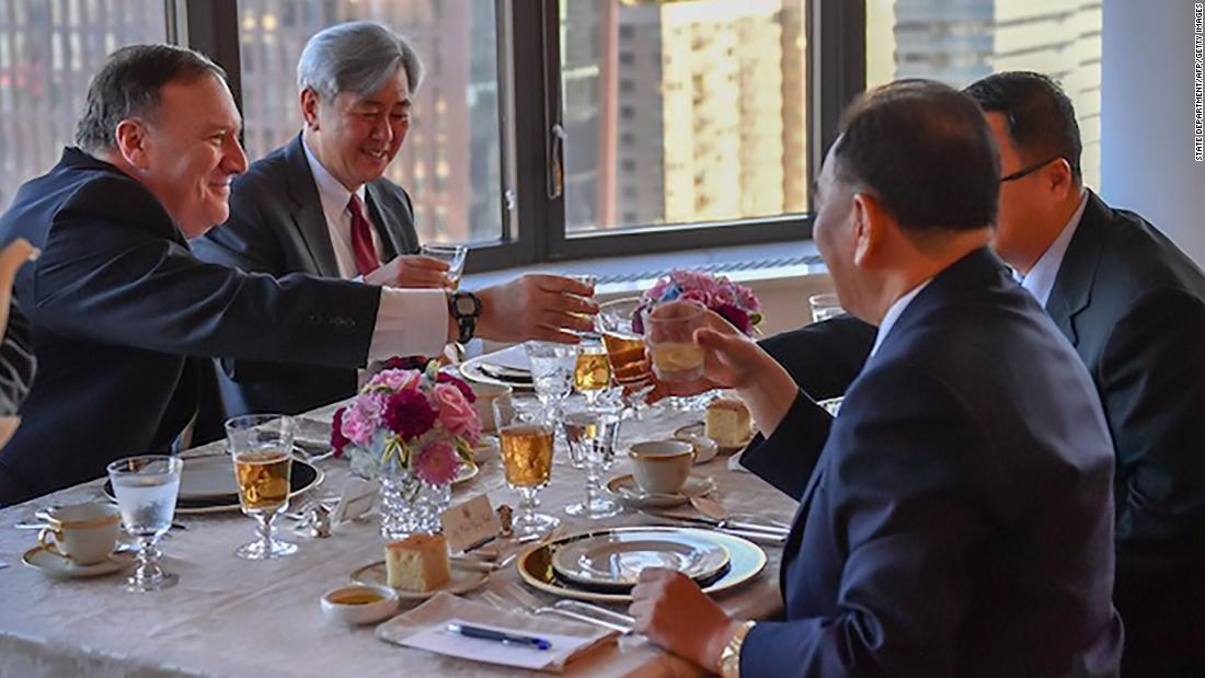 "US Secretary of State Mike Pompeo, left, sits across from senior North Korean official Kim Yong Chol as they meet in New York on Wednesday, May 30. A senior State Department official described <a href=""https://www.cnn.com/2018/05/30/politics/kim-yong-chol-new-york/index.html"" target=""_blank"">the meeting</a> as an opportunity for the two sides to begin outlining a proposed summit between US President Donald Trump and North Korean leader Kim Jong Un. That summit was originally scheduled for June 12, but it was later canceled by Trump. ""Good working dinner with Kim Yong Chol in New York tonight,"" <a href=""https://twitter.com/SecPompeo/status/1002012928407728128"" target=""_blank"">Pompeo said in a tweet that included this photo.</a> ""Steak, corn, and cheese on the menu."""
