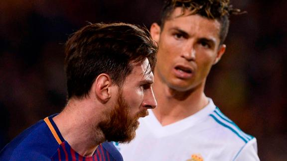 Ronaldo looks at Messi during El Clasico on May 6, 2018.