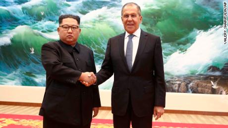 Korean leader Kim Jong Un and Russia's Foreign Minister Sergei Lavrov pose during a meeting in Pyongyang, Thursday, May 31, 2018.