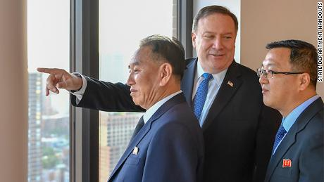 Pompeo meets with Kim Yong Chol in New York, Wednesday, May 30.
