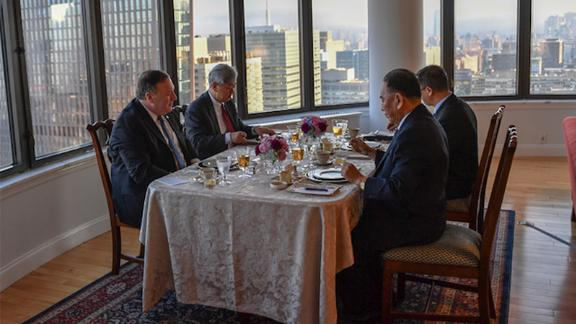 """A photo posted to Pompeo's official Twitter account showed the North Koreans dining on a meal of """"steak, corn and cheese."""""""