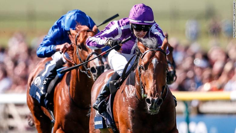 NEWMARKET, ENGLAND - MAY 05:  Donnacha O'Brien riding Saxon Warrior (R, purple) win The Qipco 2000 Guineas Stakes at Newmarket Racecourse on May 5, 2018 in Newmarket, United Kingdom. (Photo by Alan Crowhurst/Getty Images)