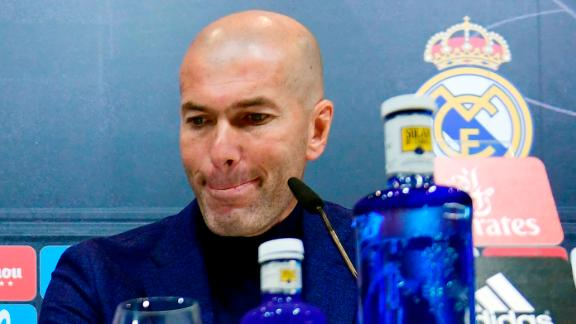 Real Madrid's French coach Zinedine Zidane gives a press conference to announce his resignation in Madrid on May 31, 2018. - Real Madrid coach Zinedine Zidane said today he was leaving the Spanish giants, just days after winning the Champions League for the third year in a row. (Photo by PIERRE-PHILIPPE MARCOU / AFP)        (Photo credit should read PIERRE-PHILIPPE MARCOU/AFP/Getty Images)