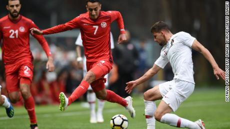 BRAGA, PORTUGAL - MAY 28: Ruben Dias of Portugal competes for the ball with Seifeddine Khaoui of Tunisia during the international friendly football match against Portugal and Tunisia at the Municipal stadium de Braga on May 28, 2018 in Braga, Portugal. (Photo by Octavio Passos/Getty Images)