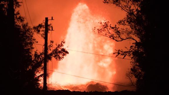 A 200-foot geyser of molten lava erupts in Pahoa, Hawaii, on May 29.