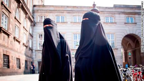 Women wearing niqab are pictured in front of the Danish Parliament in Copenhagen on Thursday.