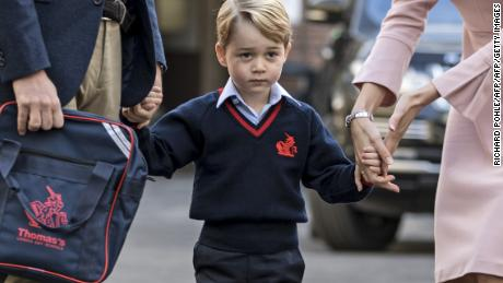 Prince George in 2017 on his first day of school, when life was simpler.