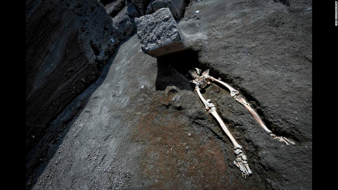 "Archeologists working at the ancient Roman city of Pompeii, Italy, found this man's remains almost 2,000 years after he died. <a href=""https://www.cnn.com/2018/05/29/health/pompeii-victim-crushed-rock-eruption-intl-trnd/index.html"" target=""_blank"">The new excavations</a> suggest the man was fleeing the eruption of the Vesuvius volcano only to be crushed by a block of stone hurled by an explosive volcanic cloud."