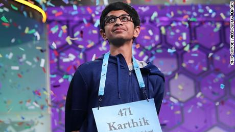 NATIONAL HARBOR, MD - MAY 31: Confetti falls from the ceiling after Karthik Nemmani correctly spelled the word 'koinonia' to win the 91st Scripps National Spelling Bee at the Gaylord National Resort and Convention Center May 31, 2018, in National Harbor, Maryland. Forty-one finalists were selected to participate in the final day after a record 516 spellers were officially invited, up from 291 in 2017. (Photo by Chip Somodevilla/Getty Images)