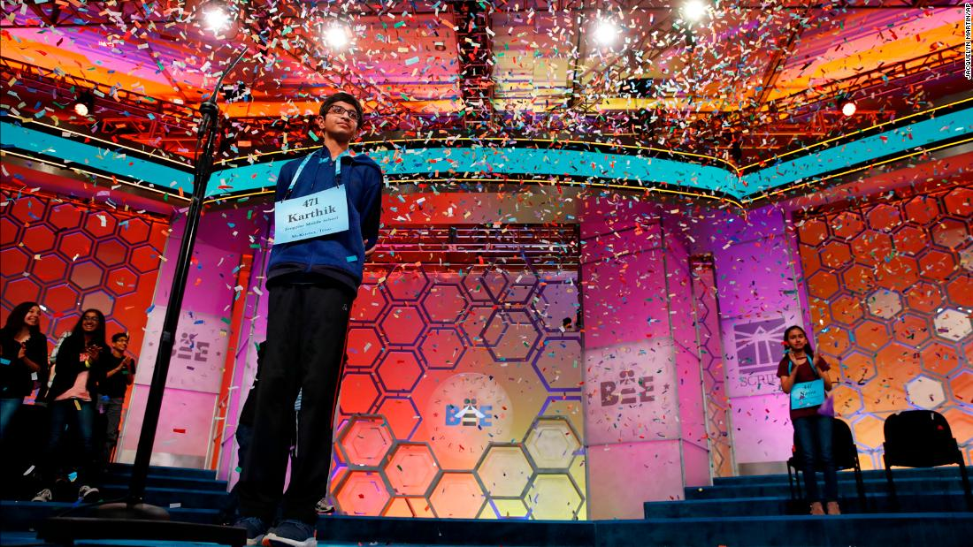 "Confetti falls on Karthik Nemmani, a 14-year-old from McKinney, Texas, <a href=""https://www.cnn.com/2018/05/31/us/national-spelling-bee-winner/index.html"" target=""_blank"">after he won the Scripps National Spelling Bee</a> on Thursday, May 31."