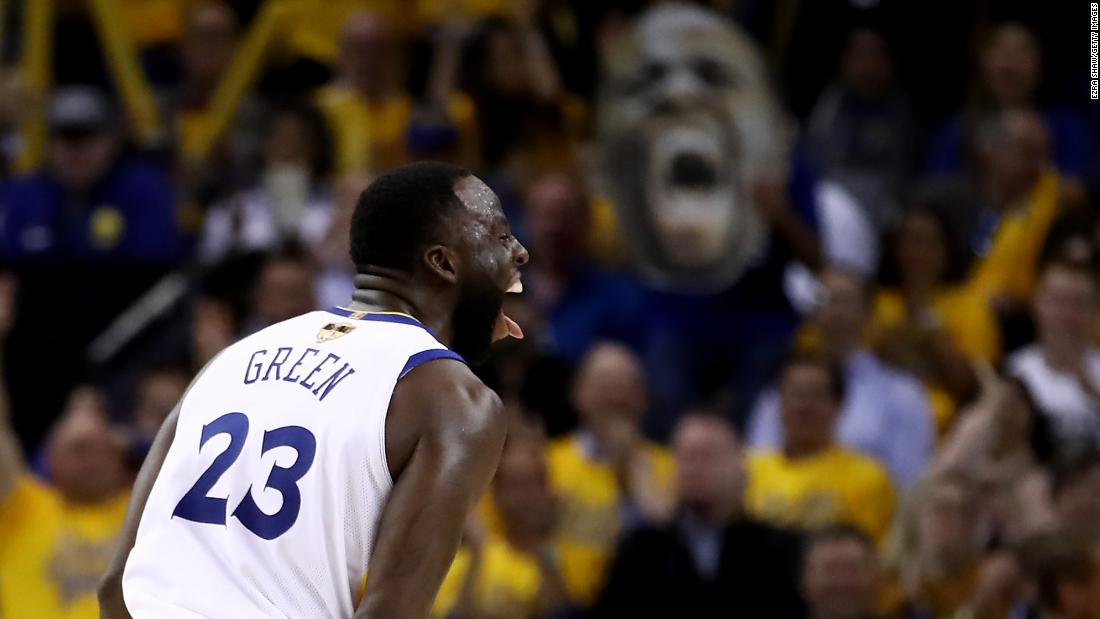 Green celebrates in the second half of Game 1.