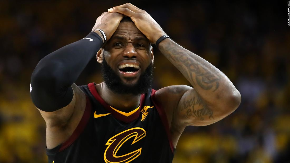 James reacts to a play late in Game 1. His 51 points were a career playoff high.