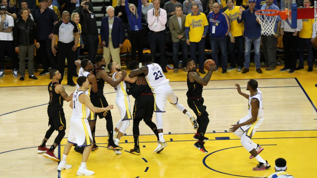 With just a few seconds left in regulation, Cleveland's George Hill missed a free throw that would have given the Cavaliers the lead. His teammate J.R. Smith grabbed the offensive rebound just a few feet away from the basket, but he dribbled back to midcourt and Cleveland was unable to get another good look at the basket.