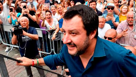Matteo Salvini -- now Italys Interior Minister -- walks on stage during a campaign rally in May.