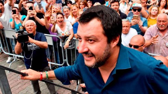 Italian Interior Minister Matteo Salvini at a campaign rally in Massa Carrara, Italy, in May.