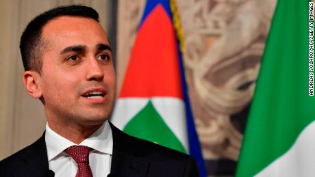 Luigi Di Maio speaks to the press after a meeting with Italian President Sergio Mattarella on May 21.