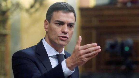 Pedro Sánchez addresses lawmakers Friday on the second day of debate on the no-confidence motion.