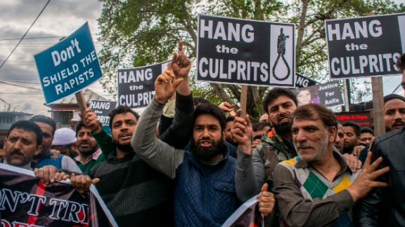 People in Srinagar demand justice for an 8-year-old girl who was raped and murdered.