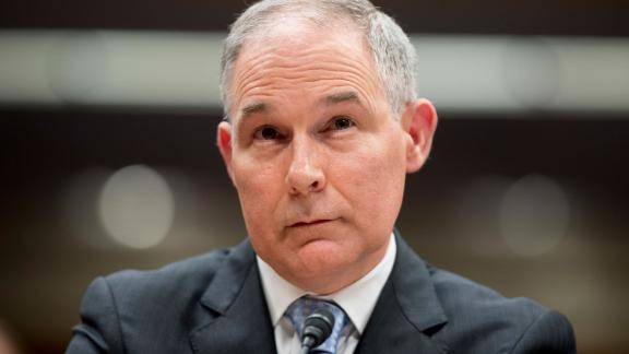 In this May 16, 2018, photo, Environmental Protection Agency Administrator Scott Pruitt appears before a Senate Appropriations subcommittee on the Interior, Environment, and Related Agencies on budget on Capitol Hill in Washington. Pruitt claimed credit for pollution cleanups done mostly by the Obama administration while flubbing facts about his 2017 condo deal and blaming underlings for his ethical woes. (AP Photo/Andrew Harnik)