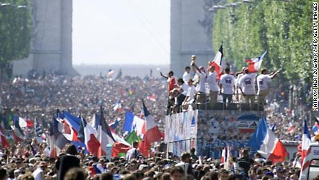 More than a million people flocked to the Champs Elysees to celebrate France's win.