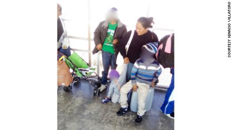 Maria and her three youngest children at the San Ysidro Port of Entry shortly before requesting asylum.
