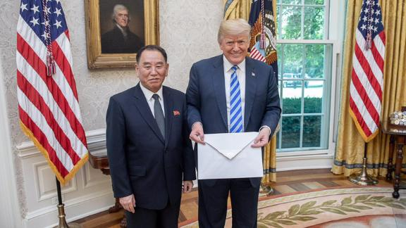 White House social media director Dan Scavino tweeted out this image last summer of North Korean envoy Kim Yong Chol handing a letter to US President Donald Trump that is said to be from North Korean leader Kim Jong Un.