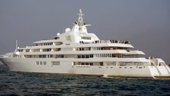Giant yacht Dubai, owned by Dubai ruler Sheikh Mohammed bin Rashid Al Maktoum, was originally built for Prince Jefri Bolkiah of Brunei. The yacht boasts seven decks and enough space for 115 people including crew.