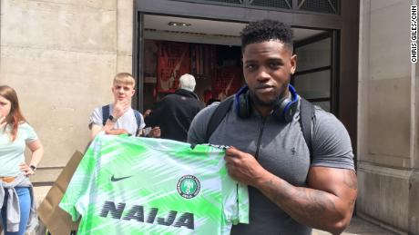 Nigeria fan Michael Oloyede managed to grab one of Nigeria's World Cup kits after queuing for hours