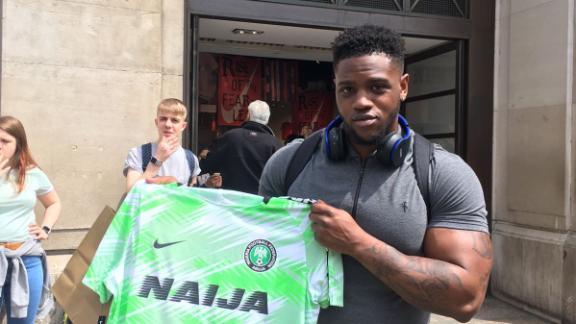 Nigeria fan Michael Oloyede managed to grab one of Nigeria