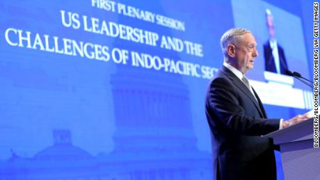 James Mattis, US Secretary of Defense, speaks during the IISS Shangri-La Dialogue Asia Security Summit in Singapore, on Saturday, June 2, 2018. Mattis blasted Chinas deployment of military assets in the South China Sea, expanding the Trump administrations criticism of the country amid a continued dispute over trade. Photographer: Paul Miller/Bloomberg via Getty Images