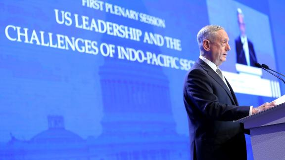 James Mattis, US Secretary of Defense, speaks during the IISS Shangri-La Dialogue Asia Security Summit in Singapore, on Saturday, June 2, 2018. Mattisblasted Chinas deployment of military assets in the South China Sea, expanding the Trump administrations criticism of the country amid a continued dispute over trade. Photographer: Paul Miller/Bloomberg via Getty Images