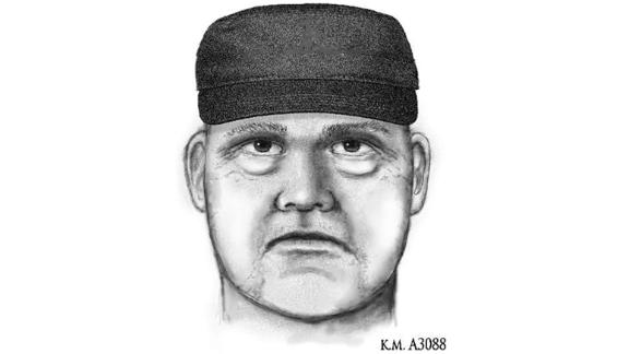 This sketch depicts the suspect wanted in the deaths of Pitt and two paralegals.