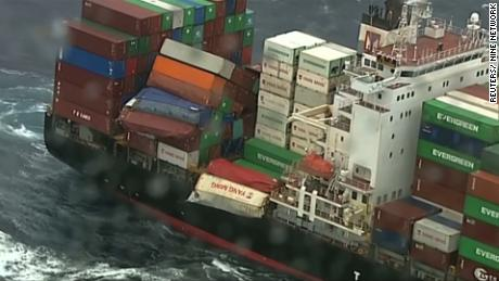 Dozens of containers fall off cargo ship
