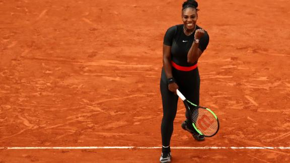 Serena Williams was all smiles after her French Open win Saturday.