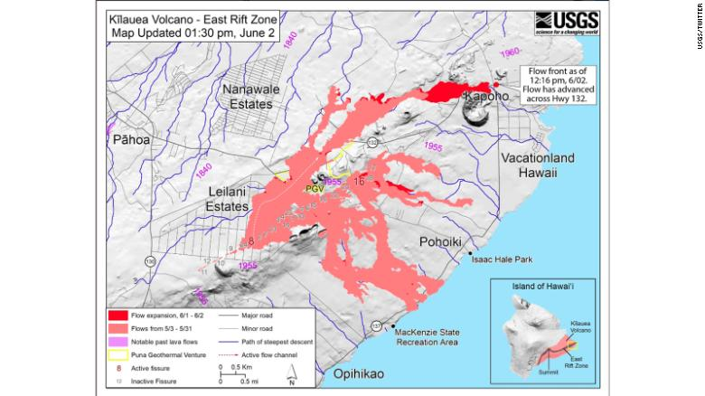 This map shows the lava flow as of Saturday afternoon.