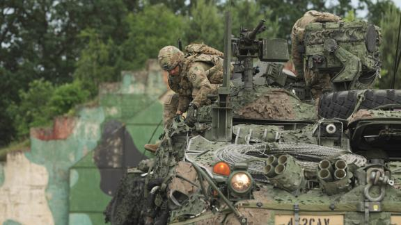 US Army Europe squadron prepares for a tactical road march through Poland as part of Saber Strike 2018.