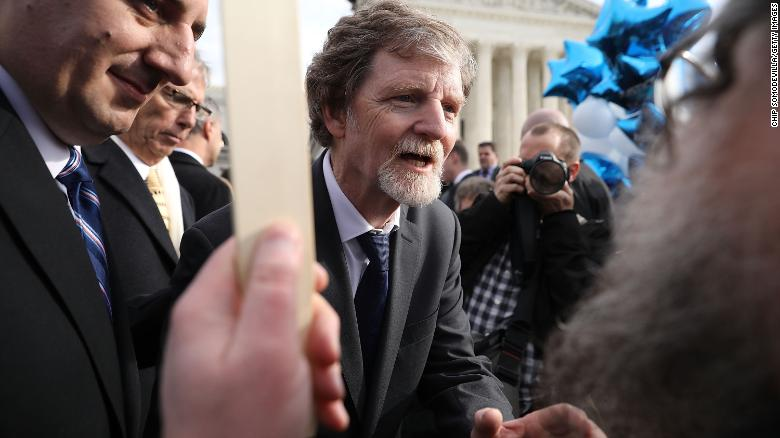 WASHINGTON, DC - DECEMBER 05:  Conservative Christian baker Jack Phillips talks with supporters in front of the Supreme Court after the court heard the case Masterpiece Cakeshop v. Colorado Civil Rights Commission December 5, 2017 in Washington, DC. Siting his religious beliefs, Phillips refused to sell a gay couple a wedding cake for their same-sex ceremony in 2012, beginning a legal battle over freedom of speech and religion.  (Photo by Chip Somodevilla/Getty Images)