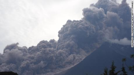 Smoke fills the air as the Fuego volcano erupts in Guatemala on June 3, 2018.