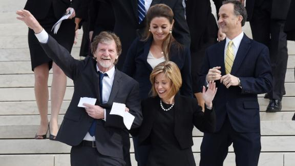 Conservative Christian baker Jack Phillips waves to supporters outside the Supreme Court building December 5, 2017 in Washington, DC. Craig and Mullins filed a complaint with the Colorado Civil Rights Commission after conservative Christian baker Jack Phillips refused to sell them a wedding cake for their same-sex ceremony..Photo by Olivier Douliery/Abaca Press (Newscom TagID: sipaphotosseven621897.jpg) [Photo via Newscom]