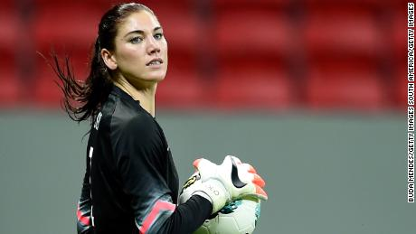 "Hope Solo, pictured here during a match between USA and China on December 10, 2014 in Brasilia, Brazil. The former US goalkeeper announced on Saturday that she is ""brokenhearted"" after her dog died from a gunshot wound."