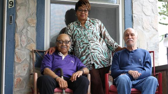 """Caregiver Joann West calls taking care of veterans Ralph Stepney (left) and Frank Hundt at her home in Baltimore a """"joy."""" """"They deserve it,"""" she says. (Lynne Shallcross/KHN)"""