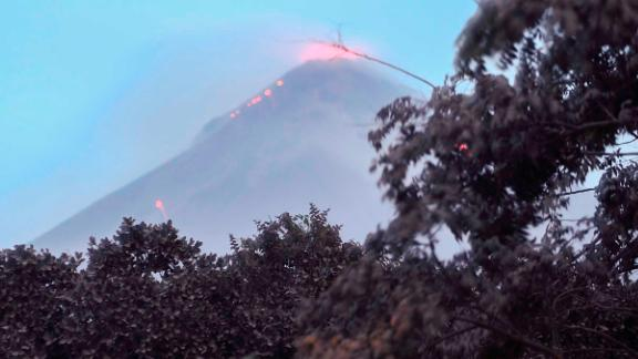 A Monday photo shows ongoing volcanic activity at Fuego.